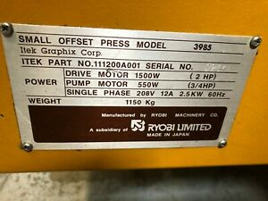 Ryobi Itek 3985 Two Color Offset Press In Great Condition Will Sell For Parts