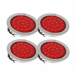 4x 4 24 Led Red Round Stop Brake Turn Signal Rear Tail Light Truck Trailer