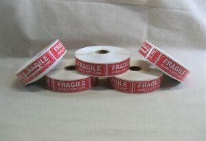 5000 Pieces 1 X 3 Fragile Handle With Care Stickers Unused Inventories 5 Rolls