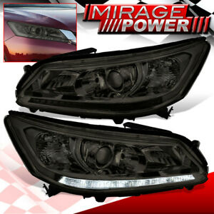 For 2013 2015 Honda Accord Halogen Led Drl Projector Head Lights Lamps Smoked