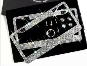 2 Luxury White Diamond Crystal Metal License Plate Frame Cap Made With Swarovski