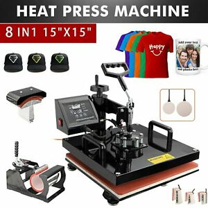 8in1 15 x15 Heat Press Machine Swing Away Printing Transfer For T shirt Mug Cup