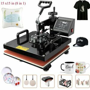 8in1 15 x15 High Pressure Heat Press Machine Sublimation Transfer Printing Lcd