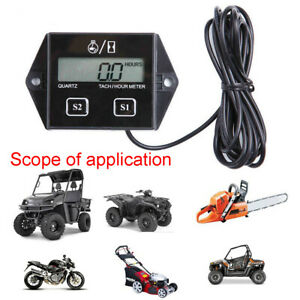 Black Digital Tach Hour Meter Tachometer Gauge For Dirt Bike Atv Utv 2 4 Stroke