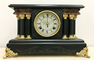 Restored To Battery Antique Waterbury Mantel Clock 1694