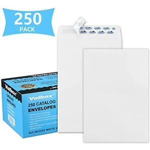Valbox 6x9 Self Seal Security Catalog Envelopes 250 Count Small White Mailing