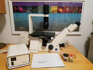 Zeiss Axiovert 40 Cfl Inverted Fluorescent Phase Contrast Microscope 4 Lenses