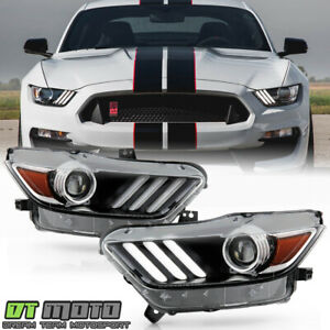 2015 2017 Ford Mustang Hid xenon Type Led Tube Projector Headlight Headlamps Set