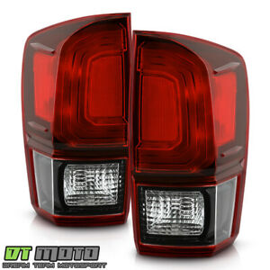 For 2016 2020 Toyota Tacoma Dark Red Tail Lights Brake Lamps Pair Set Left Right