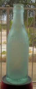 c1900's RARE !! Coca Cola Straight Sided GREEN Script Logo Crown Top Bottle