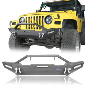Rock Crawler Offroad Front Bumper W 2x Led Light For Jeep Wrangler Tj Yj 87 06