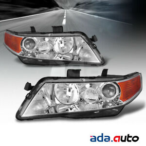 2004 2005 2006 2007 2008 Acura Tsx Chrome Projector Amber Headlights Set