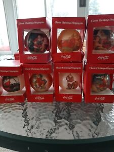 Lot of 7 Coca Cola Collection Of Classic Christmas Ornaments Corning Glass