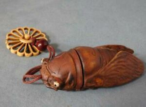 Antique Japanese Inro 006 Sagemono Pillbox Netsuke Makie Wooden Kibori