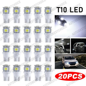 20x 6000k Pure White T10 Wedge 5050 5led Light Bulb W5w 168 921 192 194 2825 158