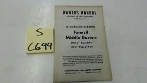 Mccormick Dearing Farmall M 7 Hm 7 Middle Buster Owners Manuell Parts List