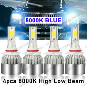 4x Combo Led Headlight 9005 9006 High Low Beam 8000k Ice Blue Bulbs Kit 120w Cob