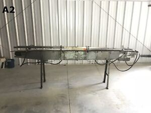 Slat Top Stainless Chain Powered Belt Conveyor 110 x4 x35 W Stainless Frame