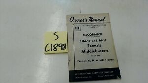 Mccormick Hm 19 M19 Farmall Middlebuster Owners Manual Parts List