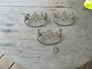 3 Antique Bail Handle Pressed Brass Drawer Pulls Hardware Victorian 3 Vtg Parts