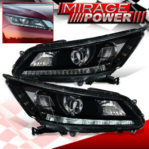 For 2013 2015 Honda Accord Halogen Led Drl Projector Head Lights Lamps Black