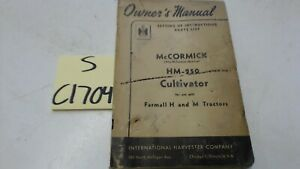 Mccormick Hm 250 Cultivator Owners Manual Parts List