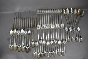 Rogers Deluxe Plate Silver Plate Flatware Set Precious Pattern 77pc