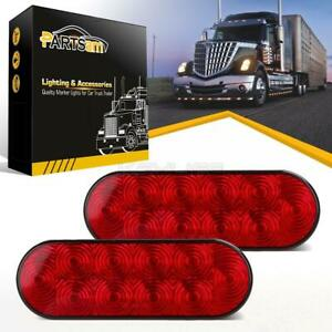 2xred Oval 10led Stop Brake Turn Tail Marker Lamp 6 Truck Trailer Surface Mount