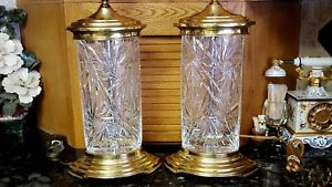 Pair Vintage Cut Glass Crystal Lamp Detailed Leaves Brass Mounts Signed Dresden