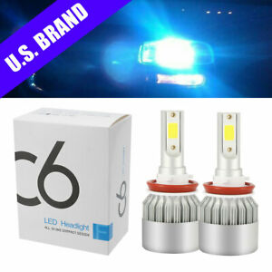 2x Lc6 H11 8000k Ice Blue Led Headlight 9000lm Low Beam Bulbs Kit High Power Car