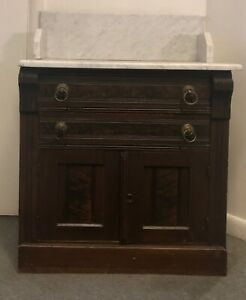 Antique Early Victorian Eastlake Washstand Dresser 1880 S Marble Top