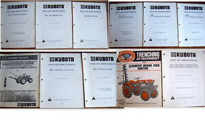 10 Kubota Parts Owners Manuals Plows Harrows Posthole Diggers Lot 787