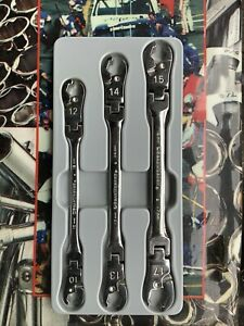 New Gearwrench 89099 3 Piece Ratcheting Flex Flare Nut Set 10 12 13 14 15 17mm