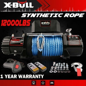 X bull Electric Winch 12000lbs 12v Synthetic Blue Rope Off Road Jeep Truck 4wd