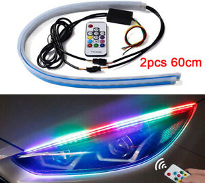 2pcs Rgb Flexible Car Led Headlight Strip Light Daytime Running Turn Signal Lamp