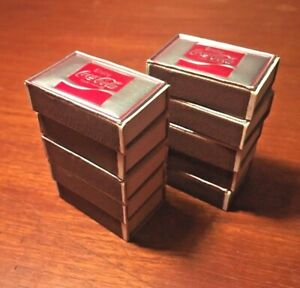 Coca-Cola 1970s Silver & Red Foil Embossed 10 Matchboxes Silver-Tip Matchsticks