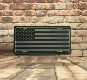 Tactical American Flag Embossed Aluminum License Plate Made In The Usa