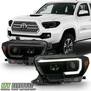 Black Smoked Led Drl Sequential Headlights For 2016 2019 Toyota Tacoma W o Drl