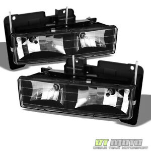 Black 88 98 C10 C k Silverado Tahoe Suburban Yukon Sierra Headlights Left right