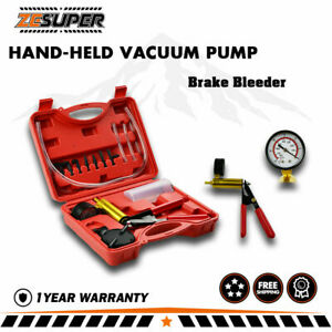 Zesuper Hand Held Vacuum Pressure Pump Tester Kit Brake Fluid Bleeder