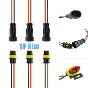 10pcs Lot Car 2 Pin Amp Superseal Waterproof Electrical Wire Connector Plug