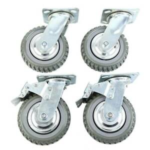 Heavy Duty Industrial Rubber Caster Wheels 6 360 Swivel Ball Bearing
