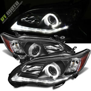 For Black 2011 2013 Toyota Corolla Led Tube Halo Projector Headlights Left right