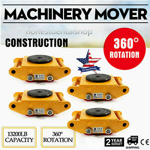 6t 4 Rollers Machine Dolly Skate Machinery Mover Cap 360 rotation Industrial New