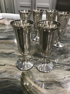 Set Of 6 Marked Sterling Silver Wine Goblets Cordial Cups