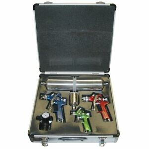Titan 4 Piece Hvlp Color Coded Triple Set Up Spray Gun Kit With Case New