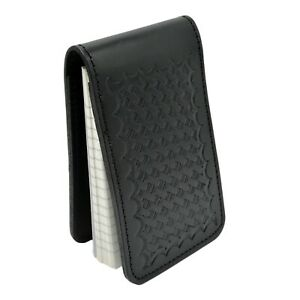 Basketweave Police Leather Notebook Cover Pocket Note Pad Top Opening 3x5