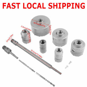 10x Tct Core Drill Set Sds Plus Extension Shank Tungsten Masonry Hole Cutters Us