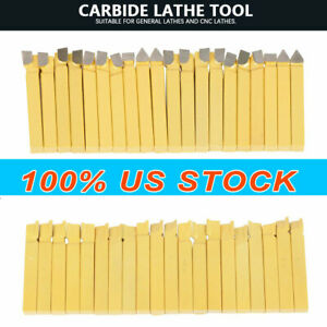 Carbide 3 8 Tip Tipped Cutter Tool Bit Cutting Set Metal Lathe Tooling 20 Pcs
