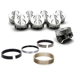Sbf 289 302 Flat Top Pistons 4 Vr Coated Skirt Hypereutectic Moly Rings H273cp